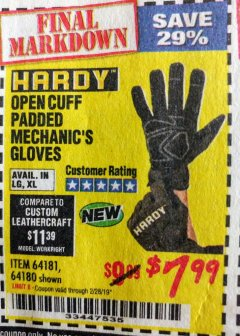 Harbor Freight Coupon OPEN CUFF PADDED MECHANIC'S GLOVES Lot No. 64181/64180 Expired: 2/28/19 - $7.99
