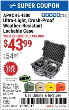 Harbor Freight Coupon APACHE 4800 WEATHERPROOF CASE Lot No. 64250 EXPIRES: 7/5/20 - $43.99