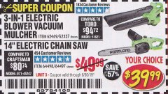 "Harbor Freight Coupon 14"" ELECTRIC CHAIN SAW Lot No. 64497/64498 Expired: 6/30/19 - $39.99"