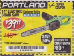 "Harbor Freight Coupon 14"" ELECTRIC CHAIN SAW Lot No. 64497/64498 Valid Thru: 10/16/19 - $39.99"