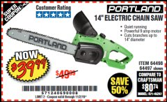 "Harbor Freight Coupon 14"" ELECTRIC CHAIN SAW Lot No. 64497/64498 Valid: 9/17/19 11/2/19 - $39.99"