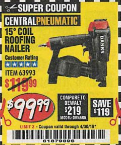Harbor Freight Coupon BANKS 15DEG. COIL ROOFING NAILER Lot No. 63993 Expired: 4/30/19 - $99.99