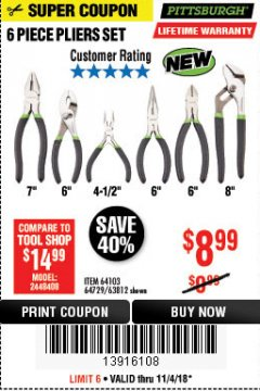 Harbor Freight Coupon 6 PIECE PLIERS SET Lot No. 64103/64729/63812 Expired: 11/4/18 - $8.99