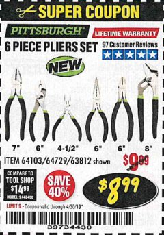 Harbor Freight Coupon 6 PIECE PLIERS SET Lot No. 64103/64729/63812 Expired: 4/30/19 - $8.99