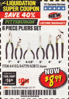 Harbor Freight Coupon 6 PIECE PLIERS SET Lot No. 64103/64729/63812 EXPIRES: 5/31/19 - $8.99