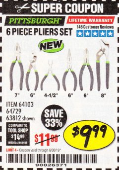 Harbor Freight Coupon 6 PIECE PLIERS SET Lot No. 64103/64729/63812 Expired: 6/30/19 - $9.99