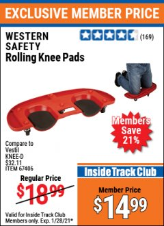 Harbor Freight ITC Coupon ROLLING KNEE PADS Lot No. 67406 Valid: 1/1/21 1/28/21 - $14.99