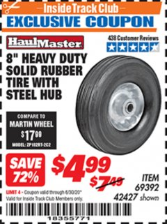 "Harbor Freight ITC Coupon 8"" HEAVY DUTY SOLID RUBBER  TIRE WITH STEEL HUB Lot No. 69392 42427 Dates Valid: 12/31/69 - 6/30/20 - $4.99"