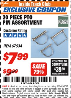 Harbor Freight ITC Coupon 20 PIECE PTO PIN ASSORTMENT Lot No. 67534 Expired: 9/30/18 - $7.99