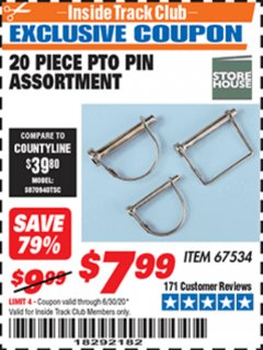 Harbor Freight ITC Coupon 20 PIECE PTO PIN ASSORTMENT Lot No. 67534 Expired: 6/30/20 - $7.99