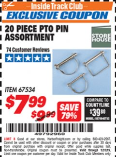 Harbor Freight ITC Coupon 20 PIECE PTO PIN ASSORTMENT Lot No. 67534 Expired: 1/31/19 - $7.99