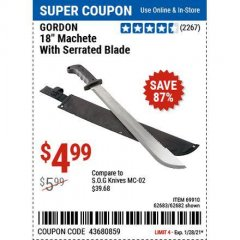 "Harbor Freight Coupon 18"" MACHETE WITH SERRATED BLADE Lot No. 62682/69910/60641/62683 Valid: 1/11/21 1/28/21 - $4.99"