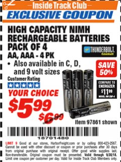 Harbor Freight ITC Coupon HIGH CAPACITY NIMH RECHARGEABLE BATTERIES (AA/AAA PACK OF 4, C/D PACK OF 2, 9V PACK OF 1) Lot No. 97866/97861/97864/97872/97865 Expired: 9/30/18 - $5.99