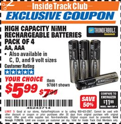 Harbor Freight ITC Coupon HIGH CAPACITY NIMH RECHARGEABLE BATTERIES (AA/AAA PACK OF 4, C/D PACK OF 2, 9V PACK OF 1) Lot No. 97866/97861/97864/97872/97865 Expired: 11/30/18 - $5.99