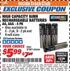 Harbor Freight ITC Coupon HIGH CAPACITY NIMH RECHARGEABLE BATTERIES (AA/AAA PACK OF 4, C/D PACK OF 2, 9V PACK OF 1) Lot No. 97866/97861/97864/97872/97865 Expired: 3/31/19 - $5.99