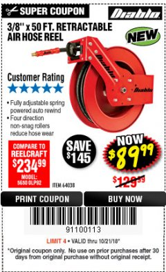 "Harbor Freight Coupon 3/8"" X 50 FT. HEAVY DUTY RETRACTABLE AIR HOSE REEL Lot No. 64038 Expired: 10/21/18 - $89.99"