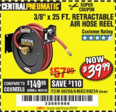 "Harbor Freight Coupon 3/8"" X 50 FT. HEAVY DUTY RETRACTABLE AIR HOSE REEL Lot No. 64038 Expired: 7/3/19 - $39.99"