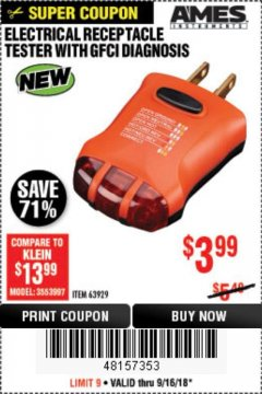 Harbor Freight Coupon ELECTRICAL RECEPTACLE TESTER WITH GFCI DIAGNOSIS Lot No. 63929 Expired: 9/16/18 - $3.99