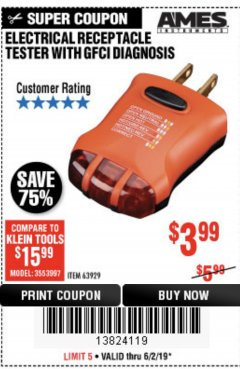 Harbor Freight Coupon ELECTRICAL RECEPTACLE TESTER WITH GFCI DIAGNOSIS Lot No. 63929 Expired: 5/2/19 - $3.99