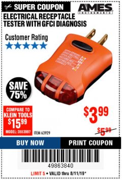 Harbor Freight Coupon ELECTRICAL RECEPTACLE TESTER WITH GFCI DIAGNOSIS Lot No. 63929 Expired: 8/11/19 - $3.99