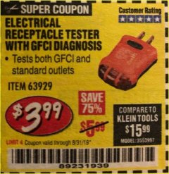 Harbor Freight Coupon ELECTRICAL RECEPTACLE TESTER WITH GFCI DIAGNOSIS Lot No. 63929 Expired: 8/31/19 - $3.99