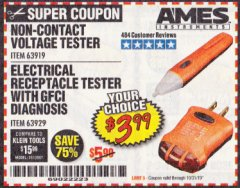 Harbor Freight Coupon ELECTRICAL RECEPTACLE TESTER WITH GFCI DIAGNOSIS Lot No. 63929 Valid Thru: 10/31/19 - $3.99