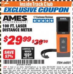 Harbor Freight ITC Coupon 100FT. LASER DISTANCE METER Lot No. 64001 Expired: 4/30/19 - $29.99