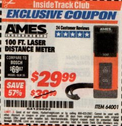 Harbor Freight ITC Coupon 100FT. LASER DISTANCE METER Lot No. 64001 Expired: 7/31/19 - $29.99