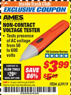 Harbor Freight ITC Coupon NON-CONTACT VOLTAGE TESTER Lot No. 63919 Expired: 2/29/20 - $3.99