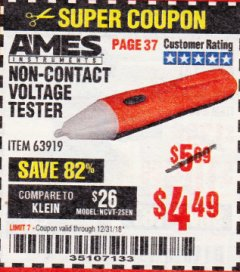 Harbor Freight Coupon NON-CONTACT VOLTAGE TESTER Lot No. 63919 Expired: 12/31/18 - $4.49