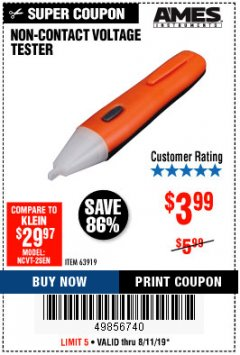 Harbor Freight Coupon NON-CONTACT VOLTAGE TESTER Lot No. 63919 Expired: 8/11/19 - $3.99