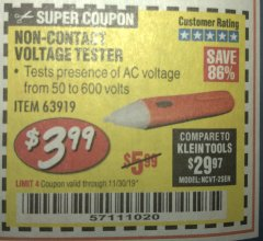 Harbor Freight Coupon NON-CONTACT VOLTAGE TESTER Lot No. 63919 Expired: 11/30/19 - $3.99