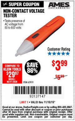 Harbor Freight Coupon NON-CONTACT VOLTAGE TESTER Lot No. 63919 Expired: 11/10/19 - $3.99