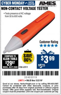 Harbor Freight Coupon NON-CONTACT VOLTAGE TESTER Lot No. 63919 Expired: 12/2/19 - $3.99