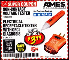 Harbor Freight Coupon NON-CONTACT VOLTAGE TESTER Lot No. 63919 Expired: 3/31/20 - $3.99