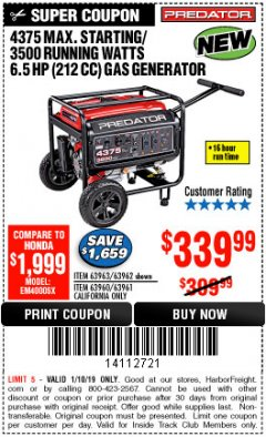 Harbor Freight ITC Coupon 4375 MAX STARTING/3500 RUNNING WATTS, 6.5 HP (212CC) GAS GENERATOR Lot No. 63962/63963/63960/63961 Expired: 1/10/19 - $339.99