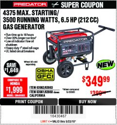 Harbor Freight Coupon 4375 MAX STARTING/3500 RUNNING WATTS, 6.5 HP (212CC) GAS GENERATOR Lot No. 63962/63963/63960/63961 Expired: 9/23/18 - $349.99