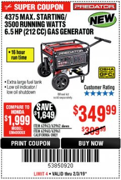 Harbor Freight Coupon 4375 MAX STARTING/3500 RUNNING WATTS, 6.5 HP (212CC) GAS GENERATOR Lot No. 63962/63963/63960/63961 Expired: 2/3/19 - $349.99