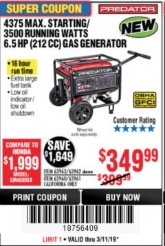 Harbor Freight Coupon 4375 MAX STARTING/3500 RUNNING WATTS, 6.5 HP (212CC) GAS GENERATOR Lot No. 63962/63963/63960/63961 Expired: 3/11/19 - $349.99