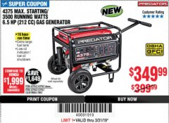 Harbor Freight Coupon 4375 MAX STARTING/3500 RUNNING WATTS, 6.5 HP (212CC) GAS GENERATOR Lot No. 63962/63963/63960/63961 Expired: 3/31/19 - $349.99