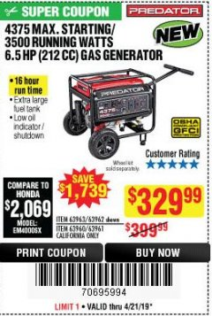 Harbor Freight Coupon 4375 MAX STARTING/3500 RUNNING WATTS, 6.5 HP (212CC) GAS GENERATOR Lot No. 63962/63963/63960/63961 Expired: 4/21/19 - $329.99