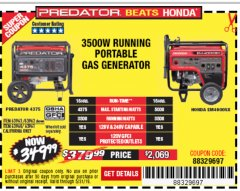 Harbor Freight Coupon 4375 MAX STARTING/3500 RUNNING WATTS, 6.5 HP (212CC) GAS GENERATOR Lot No. 63962/63963/63960/63961 Expired: 5/31/19 - $349.99