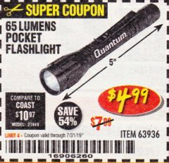 Harbor Freight Coupon 4375 MAX STARTING/3500 RUNNING WATTS, 6.5 HP (212CC) GAS GENERATOR Lot No. 63962/63963/63960/63961 Expired: 7/31/19 - $4.99