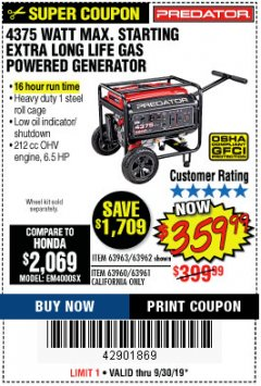 Harbor Freight Coupon 4375 MAX STARTING/3500 RUNNING WATTS, 6.5 HP (212CC) GAS GENERATOR Lot No. 63962/63963/63960/63961 Expired: 9/30/19 - $359.99