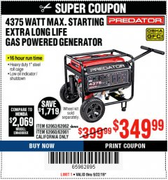 Harbor Freight Coupon 4375 MAX STARTING/3500 RUNNING WATTS, 6.5 HP (212CC) GAS GENERATOR Lot No. 63962/63963/63960/63961 Expired: 9/22/19 - $349.99