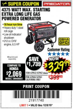 Harbor Freight Coupon 4375 MAX STARTING/3500 RUNNING WATTS, 6.5 HP (212CC) GAS GENERATOR Lot No. 63962/63963/63960/63961 Expired: 12/8/19 - $329.99