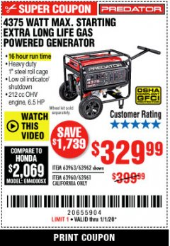 Harbor Freight Coupon 4375 MAX STARTING/3500 RUNNING WATTS, 6.5 HP (212CC) GAS GENERATOR Lot No. 63962/63963/63960/63961 Expired: 1/1/20 - $329.99