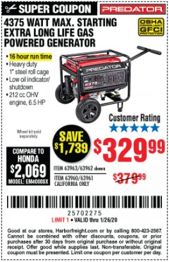 Harbor Freight Coupon 4375 MAX STARTING/3500 RUNNING WATTS, 6.5 HP (212CC) GAS GENERATOR Lot No. 63962/63963/63960/63961 Expired: 1/26/20 - $329.99