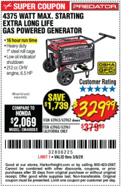 Harbor Freight Coupon 4375 MAX STARTING/3500 RUNNING WATTS, 6.5 HP (212CC) GAS GENERATOR Lot No. 63962/63963/63960/63961 Expired: 2/8/20 - $329.99