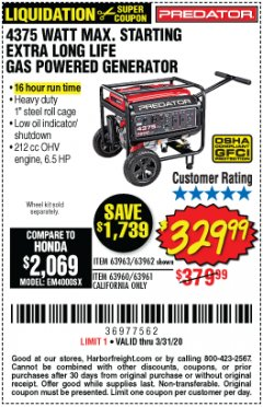 Harbor Freight Coupon 4375 MAX STARTING/3500 RUNNING WATTS, 6.5 HP (212CC) GAS GENERATOR Lot No. 63962/63963/63960/63961 Expired: 3/31/20 - $329.99